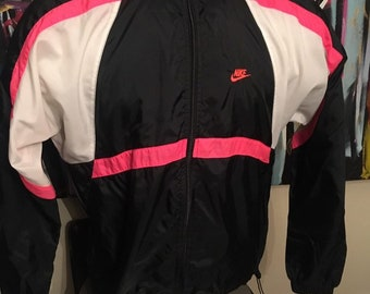 0cb6cce90a Vintage 1990s Nike Grey Tag Windbreaker Black White Neon Pink Swoosh Track  Jacket Zip Up Medium Jacket