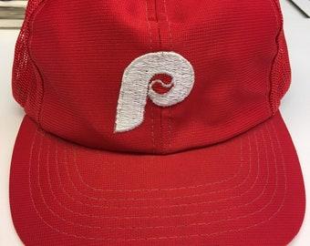 9f3a1b38018 Vintage Philadelphia Phillies MLB Baseball Meshback Snapback Hat