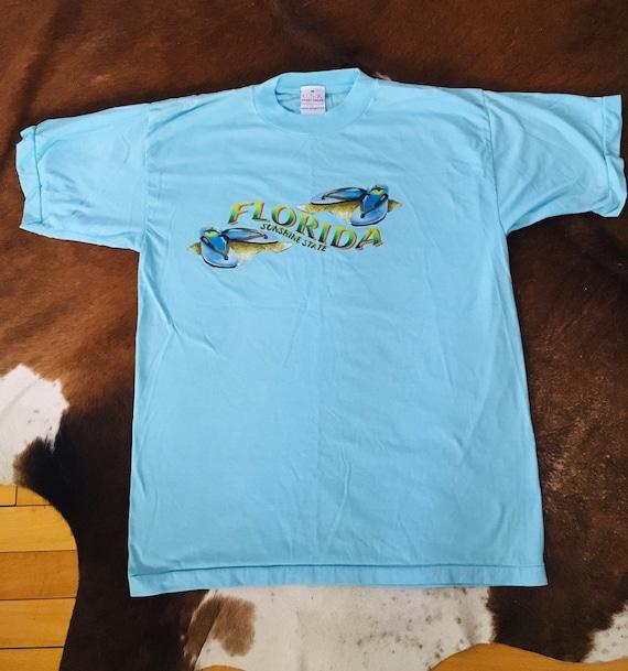 Vintage 80s 90s Florida USA Souvenir Tourist Large Turquoise Blue 5050 Soft Tshirt