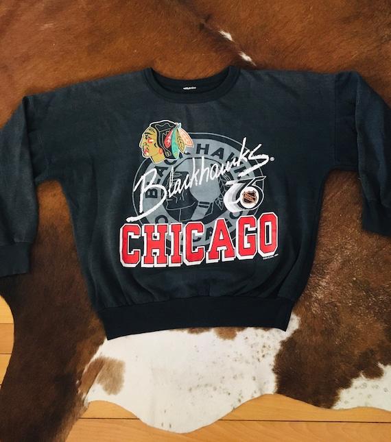 Vintage 90s Chicago Blackhawks NHL Hockey Faded Bl