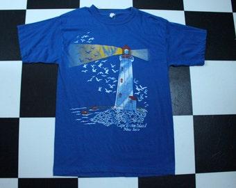 Vintage 80s Halifax Nova Scotia Canada Waves Blue Surf Ringer Tshirt WH0Qi2F