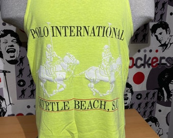Vintage 90s Polo International Myrtle Beach South Carolina Neon Yellow Souvenir Tourist Medium Tank Top Shirt