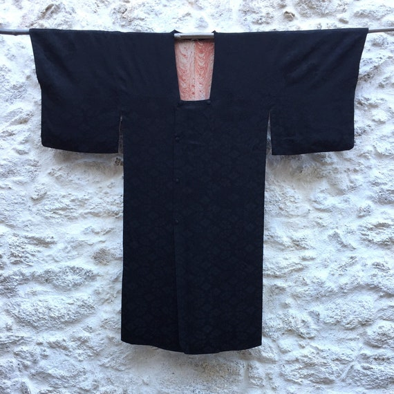 Black Silk Vintage Michiyuki, Black Satin Silk Kim