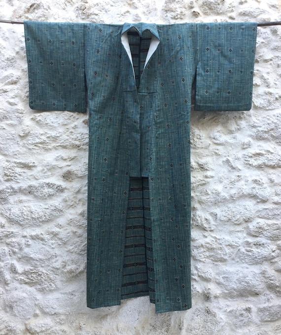 vintage kimono Japanese with  round geometry pattern cotton fabric long kimono