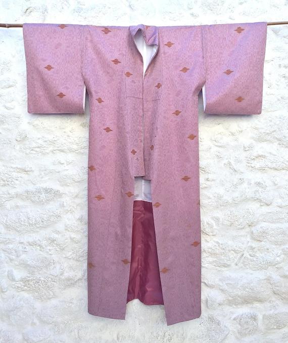 Pink Metallic Brocade Kimono, Metallic Embellished