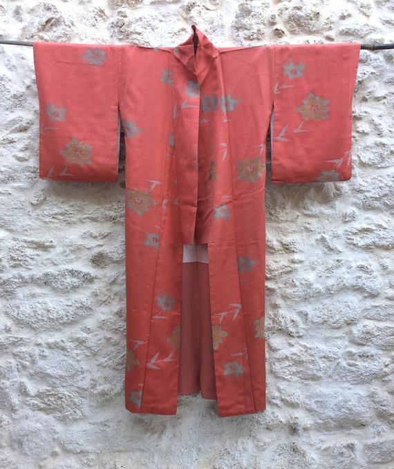 Vintage Japanese Kimono / Peach Pink Silk Kimono R