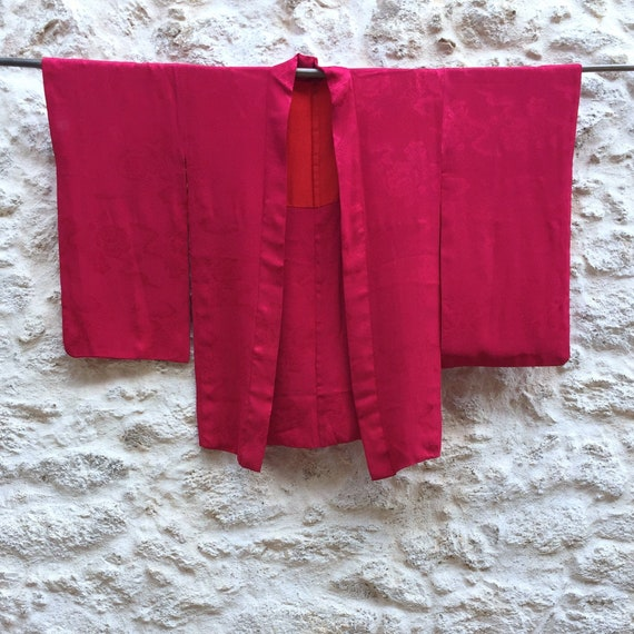 Vintage Japanese Silk Haori / Pink Silk Kimono Jac