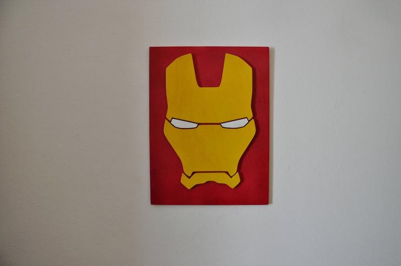Superhero Iron Man Wood Sign Marvel Wall Art Comics Wall Decor