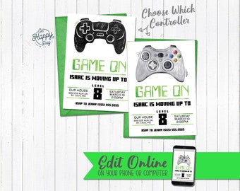 Game On Birthday Party Invitation O Printable Editable Template Video Edit Download Print