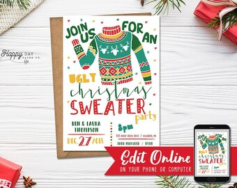 Ugly Sweater Invitation Etsy