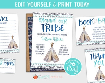 Growing Our Tribe Boho Baby Shower Invitation Template Edit | Etsy
