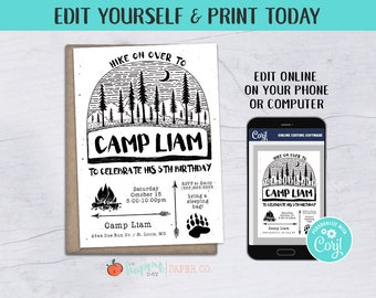 Camping Birthday Party Invitation Digital File O Edit Yourself Online Lumberjack Invite Template
