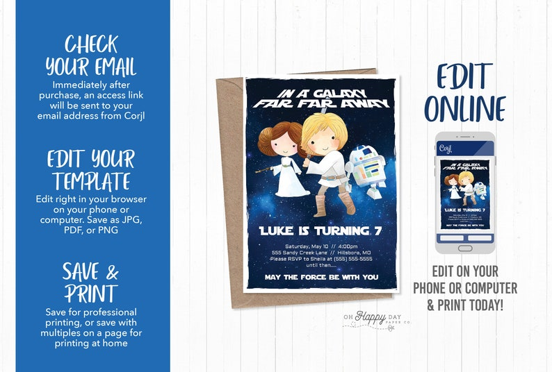 Star Wars Theme Birthday Invitation Digital File Edit Yourself Online Birthday Kids Party Editable Birthday Invitation