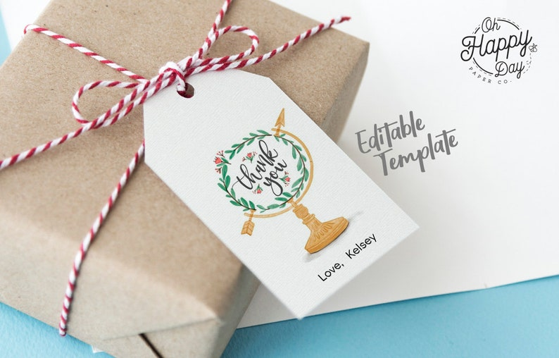 Thank You Gift Tag Favor Tag \u2022 Floral Globe Adventure Begins Baby Shower \u2022 Instant Download Template Invitation