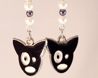 Dog Face Black & White Enamle Charm Earring with White and Charcoal Glass Pearls, Dogs, Dog jewelry, Black Jewelry, Face Jewelry, Doggies