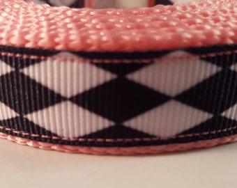 Pink Black and White Medium Leash, Diamond Pattern Leash, Harlequin Pattern Leash, Pink Dog Leash, Black & White Dog Leash