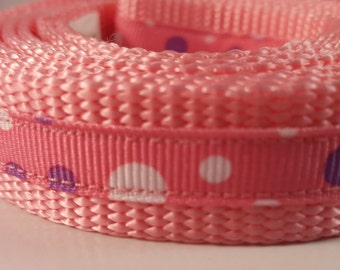 Light Pink Med 5 Foot Leash with Purple and White Dots, Pink Leash, Medium Leash, Doggy Leash, Doggie Leash, Gifts for Dog Lovers, Dog Gift
