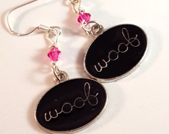 Bright Pink Swarovski Crystal & Black Enamel WOOF Earrings, Dog Jewelry, Pink Jewelry, Pink Crystal Jewelry, Black Jewelry, Doggies