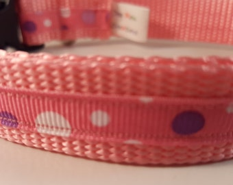 Light Pink Med Adjustable Collar w Purple and White Dots, Pink Collar, Medium Collar, Doggy Collar, Doggie Collar, Gifts for Dogs, Dog Gift