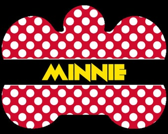 Personalized Pet Tag, Personalized Dog Tag, Custom Dog Tag, Custom Pet Tag, Design Your Own Pet Tag, Pet Gift, Bone Tag, Minnie Mouse Tag