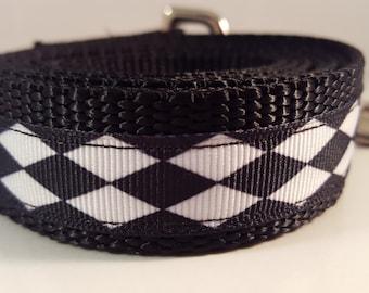Black & White Large 5 Foot Dog Leash, Diamond Pattern Leash, Harlequin Patterned Dog Leash, Black Dog Leash, White Dog Leash, Custom Leashes