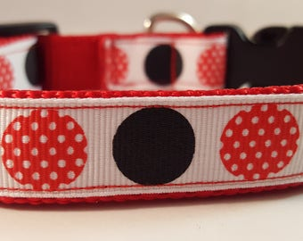 Red Medium Adjustable Collar w Red White Polka Dot and Black Dots, Red Collar, Mickey-Inspired Collar, Doggie Collar, Gifts for Dogs