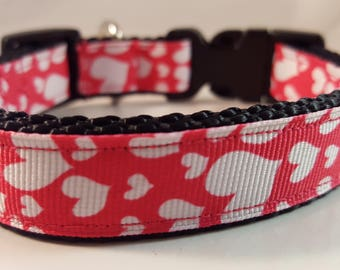 Black Med Adjustable Collar w White Hearts on Hot Pink, Black Collar, Medium Collar, Doggy Collar, Doggie Collar, Gifts for Dogs, Dog Gift