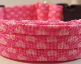 Pink Medium Fabric Collar w White Hearts, Pink & White Collar, Custom Dog Collar, Doggy Collar, Gift for Dogs, Gift for Dog Lover, Hearts