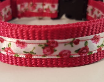 Raspberry Rose Medium Adjustable Collar, Raspberry Collar, White Pink Rose Collar, Dog Collar, Gifts for Dog Lovers, Gifts for Dogs