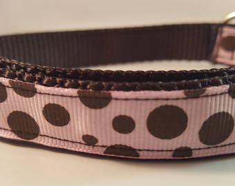 Dark Brown Large Adjustable Dog Collar with Lt Pink and Brown Polka Dots, Brown Collar, Polka Dot Collar, Custom Dog Collar, Pink & Brown