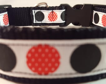 Black Large Adjustable Collar w Red White Polka Dot and Black Dots, Black Collar, Mickey-Inspired Collar, Doggie Collar, Gifts for Dogs