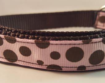 Dark Brown Medium Adjustable Dog Collar with Lt Pink and Brown Polka Dots, Brown Collar, Polka Dot Collar, Custom Dog Collar, Pink & Brown
