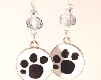 White & Black Enamel Pawprint Earrings with Light Grey Czech Crystals, Grey Jewelry, Dog Jewelry, Smoke Jewelry, Smoky Grey, White Jewelry