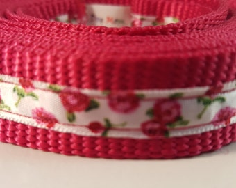 Raspberry Rose Medium 5Ft Leash , Raspberry Leash, White Pink Rose Leash, Dog Leash, Gifts for Dog Lovers, Gifts for Dogs