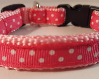Lt Pink Small Adjustable Dog Collar with White Polka Dots on Dark Pink, Pink Collar, Polka Dot Collar, Custom Dog Collar, Pink & White