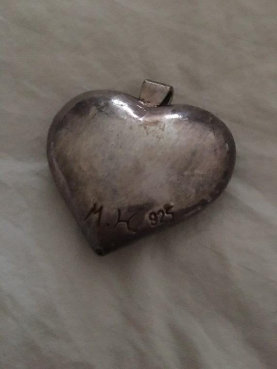 Vintage Puffed Heart floral Design Sterling - image 2