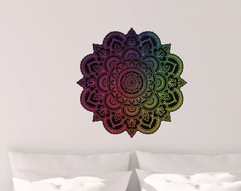 Rainbow Mandala Vinyl Wall Decal, Vinyl Wall Decal, Large Wall Decal, Oversized Mandala decal
