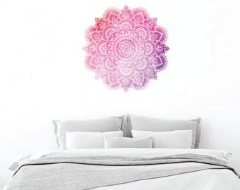 Watercolor Mandala Vinyl Wall Decal, Vinyl Wall Decal, Large Wall Decal, Oversized Mandala decal