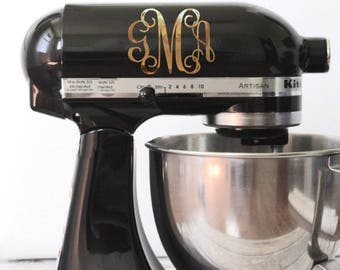 Chrome Monogram Kitchen Mixer Decal, Monogram decal, Monogram Mixer Decal, Chrome Monogram Decal