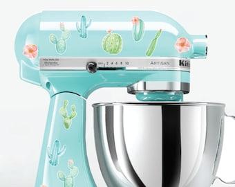 Cactus Kitchen Mixer Decals, Watercolor flowers, cactus mixer decals, cactus decals