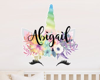 Unicorn Custom Name Vinyl Wall Decal, Large Wall Decal, Oversized Wall Decal, Smiling Unicorn Decal, Happy unicorn decal, Unicorn lashes