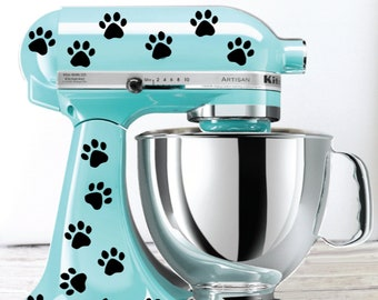 Paw Print Polka Dot Kitchen Mixer Decals, Cat Mixer Decals, Dog Mixer Decals
