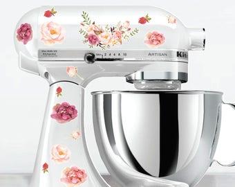 Watercolor Posie Kitchen Mixer Decals, Watercolor flowers, flower mixer decals, Floral Mixer Decals