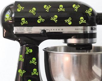 Glitter Skull and Crossbones Kitchen Mixer Decals