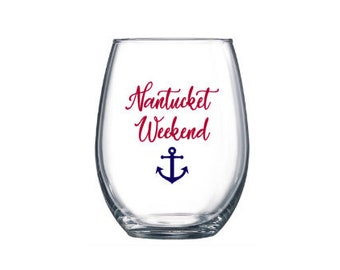 Personalized Stemless Wine Glasses, Custom Glasses, Glasses,  Nautical, Anchor, Girls Weekend, Glasses, Wine Glasses, Personalized