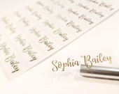 48 Long GOLD INK clear -Waterproof Name Stickers- Daycare Labels- School Labels- Long Rectangle Labels Hanprinting