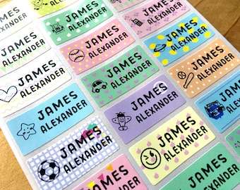 72 Waterproof Name Stickers- Daycare Labels- Pastel Print Kids labels- Boy Icon Designs - Medium Size- Multicolor Stickers