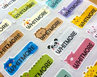 SPECIAL DEAL!! - Cute Animal Small Waterproof Name Stickers- Daycare Labels- Animal Design Kids labels- Name Stickers HanPrinting
