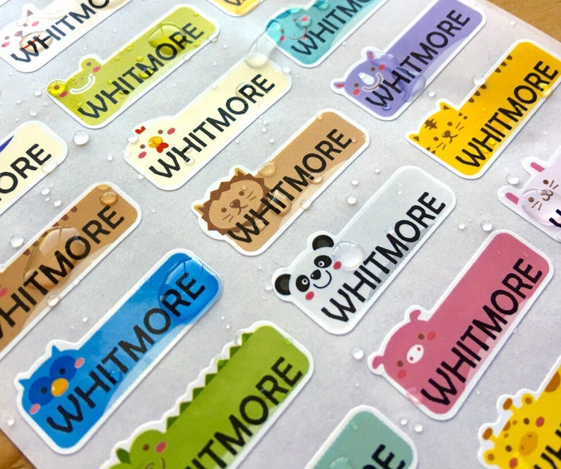 81 Waterproof Name Stickers Daycare Labels Cute Animal image 0