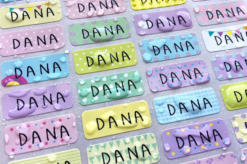 SPECIAL DEAL Pastel Pattern Waterproof Name Stickers image 0